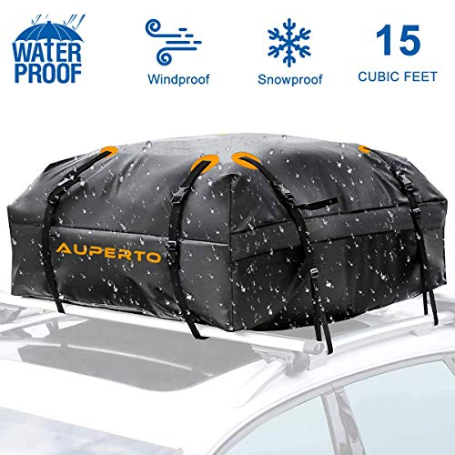 AUPERTO Waterproof Car Top Carrier- Roof Cargo Bag Box Easy to Install Soft Rooftop Luggage Carriers with Wide Straps, Best for Traveling, Cars, Vans, SUVs