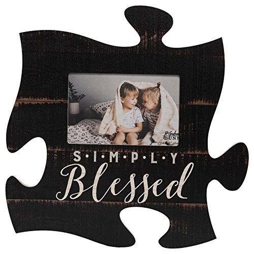 P. Graham Dunn Simply Blessed Black Distressed Wood Look 4 x 6 Wood Puzzle Wall Plaque Photo Frame