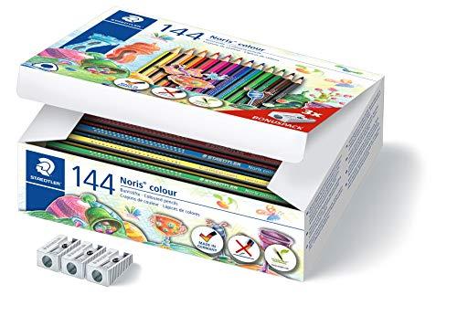 STAEDTLER Buntstift Noris colour, erhöhte Bruchfestigkeit, Dreikantform, ergonomische Soft-Oberfläche, WOPEX Material, Set mit 144 Stiften in 12 Farben und 3 Anspitzern, Klassensatz, 187 C144