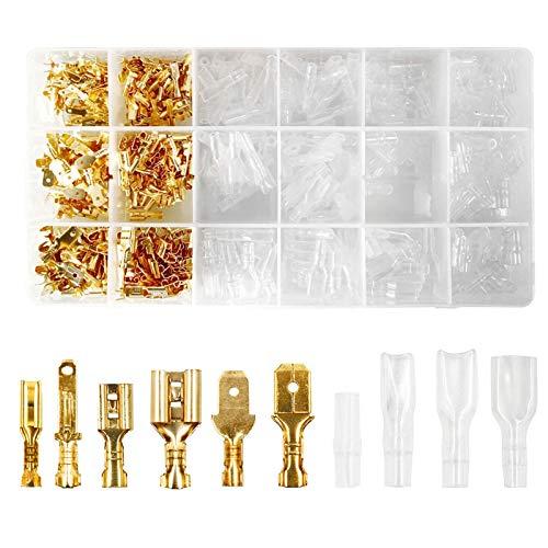 Flachsteckhülsen Set,480 pcs Männlich Weiblich Flachstecker,2,8 mm 4,8 mm 6,3 mm Spade Kabelschuhe Sleeve Terminal,Männlich und Weiblich Kabelstecker Set mit Isolierhülse Sleeve Sortiment Kit