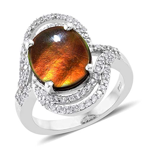 TJC Ammolite Halo Platinum Plated 925 Sterling Silver Ring for Women Cambodian Zircon Size N, 3.77 Ct