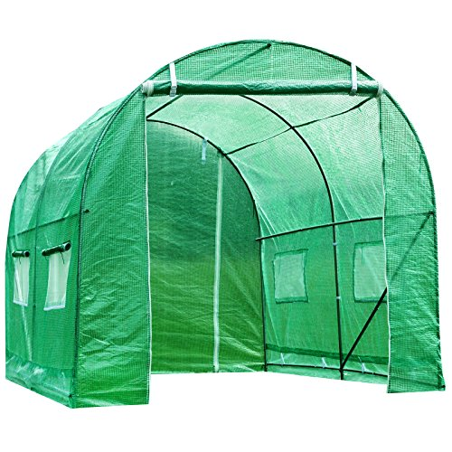 Photo of Superworth 3M X 2M Fully Galvanised Steel Greenhouse Frame Poly Tunnel Polytunnel Tunnel 6 m² Area 2M Height 4 Windows 2 Doors 2 Sections