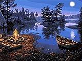 ROG000 Pintar por Numeros Adultos Niños para DIY Pintura por números con Pinceles y Pinturas Decoraciones para el Hogar 16x20 Inch Bonfire Boat Night View Marco de Madera V274