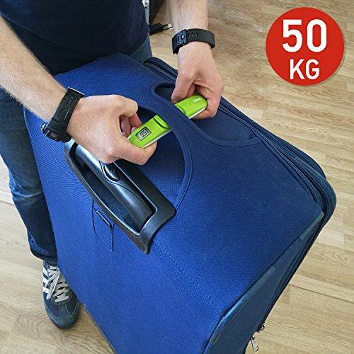 Tatkraft Portable Bilancia Digitale Pesa Valige/Bilancino Digitale Display LCD per Bagagli, 50Kg Tascabile con Indicatore Sonoro, Verde