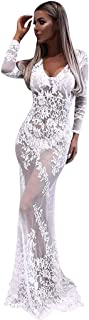 Women Lace Hollow Perspective Bodycon Mermaid Dress, Long Sleeve V-Neck Party Maxi Long Dresses Gowns