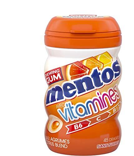 MENTOS GUM Chewing Gum Bottle Vitamines de 45 Dragées Goût Agrumes Citrus sans Sucres 90 g