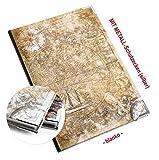 Logbuch-Verlag Piccolo DIN A5, taccuino, diario di viaggio con pagine vuote, per il fai da te, motivo mappa del mondo, con angoli di protezione in metallo