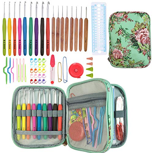 55 PCS Ergonomic Crochet Hook Needles Set with Case,9PCS Extra Long Soft Crochet Hooks(2mm-8mm) & 8PCS Bamboo Handles Hook(1mm-2.75mm) Comfort Grip Perfect for Arthritic Hands Accessories Included
