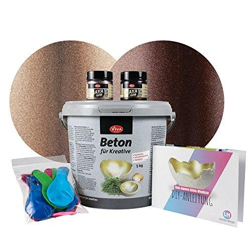 5 kg Beton Set für große Windlichter (Cappuccino/Kakao) Kreativ Beton für Kreative Windlichter Bastel-Beton Basteln Gieß-Beton Maya Gold Viva Decor