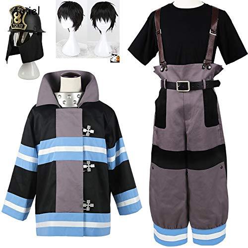 Qfeng Anime Shinra Kusakabe - Abrigo para disfraz de la Fuerza de Fuego Cosplay Enen No Shouboutai Boiru uniforme para hombres y niños, Medium