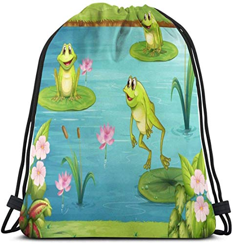Turnbeutel Vintage Frosch Seerose Wasserabweisend Kordelzug Tasche Unisex Leicht Cinch Sack Langlebig Große Kapazität Rucksack für Sport Reisen Wandern Camping