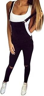 Women Slim Denim Bib Hole Ripped Pants Overalls Jeans Trousers Jumpsuit