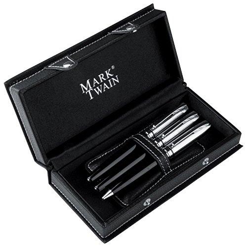 Mark Twain - Juego de escritura metálico de 3 piezas que incluye una estilográfica con cartucho de recarga, bolígrafo con carga metálica de escritura negra y roller de escritura azul.
