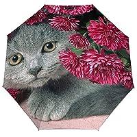 猫と赤の花日傘 軽量 折り畳み 晴雨兼用 女性と男性用 出張旅行通勤 全自動傘 外側印刷 内側ビニール マッチ傘カバー 耐風撥水 持ち運びが容易