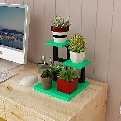 LLLXUHA En bois Multi-couche Mini Support de fleurs, intérieur Multifonction Succulentes Présentoir, salon chambre Étagère,30*30*28cm , green and black