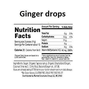 Sweetie Pie Organics Ginger + VIT B6 candy drops morning sickness & nausea relief, motion sickness, chemo.(GINGER)