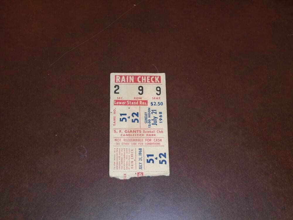 1968 ASTROS AT GIANTS TICKET BASEBALL DH Outlet sale feature STUB Dallas Mall
