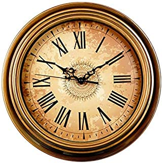 Filly Wink Wall Clock Non Ticking Battery Operated Vintage European Style Roman Numerals Easy to Read Decorative Living Room 12 Inch Golden Brown