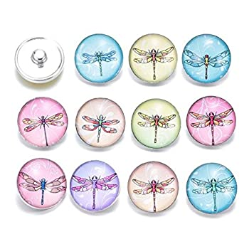 Ginooars Pack of 10pcs Dragonfly Theme 20mm Snap Button Charms for Snap Bracelets Jewelry Supplies
