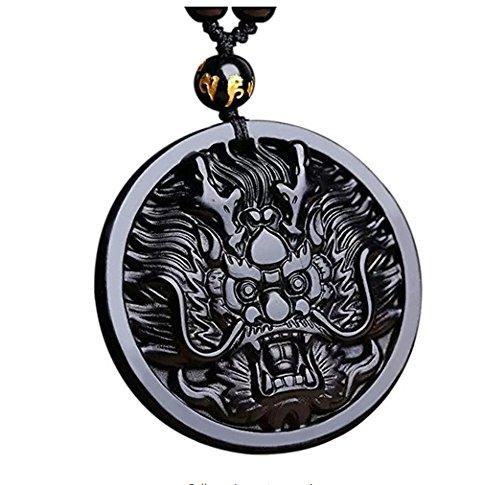 ZTAN - Collar colgante cabeza dragón negro obsidiana
