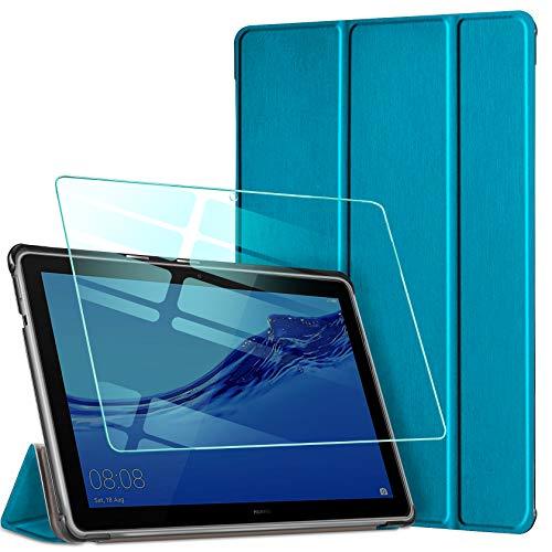AROYI Hülle für Huawei MediaPad T5 10 + Panzerglas, Ultra Schlank Schutzhülle Hochwertiges PU mit Standfunktion Glas Panzerfolie für Huawei MediaPad T5 10 10,1 2018 (Blauer Pfau)