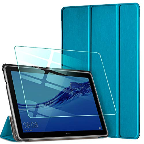 AROYI Funda Kompatibelpara Huawei MediaPad T5 10 con Protector Pantalla,  Carcasa Silicona TPU Smart Cover Case con Soporte Función para Huawei MediaPad T5 10 10, 1 2018 (Pavo Real Azul)