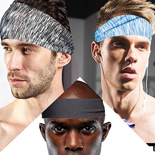 tEEZErshop Sport Stirnbänder für Fitness Training zu Hause, Herren Joggen Wicking Haarband mit Anti Rutsch,Elastische Sport Schweißband für Fahrrad,Laufen,Motorrad Fahren,Fußball(3er Pack)