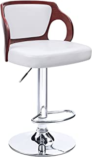 Homall Bar Stools Walnut Bentwood Adjustable Height Leather Modern Barstools with Back Vinyl Seat Extremely Comfy Bar Stool 1 Piece (White)