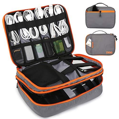Tensphy Bolsa Cables, Electrónico Organizador de Cable de Viaje Estuche Cables para Cargador, Banco de energía, Tarjeta de Memoria, iPad, Gris