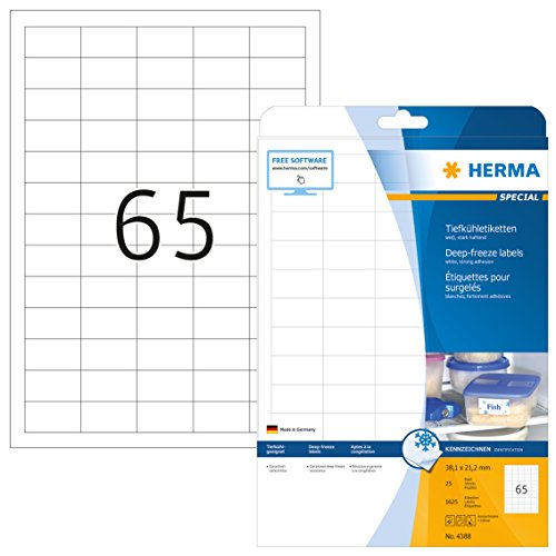 Herma 4388 - Pack de 1625 etiquetas, 38.1 x 21.2 mm, color blanco