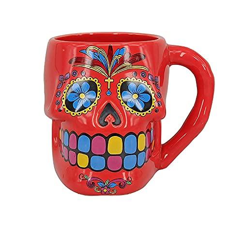 Taza de café de cerámica fuerte y duradera —— Taza de moda con calavera de Halloween 3D personalizada tridimensional con forma especial hecha a mano con forma de taza de agua de cerámica pintada