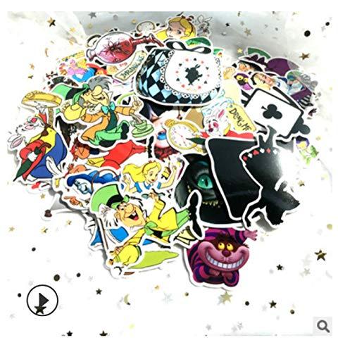 ZJJHX Nuevas Pegatinas de Grafiti, Pegatinas de Alicia en el país de Las Maravillas, Pegatinas de Maleta con Ruedas, Pegatinas Bonitas Impermeables para Guitarra, monopatín, 70 Hojas