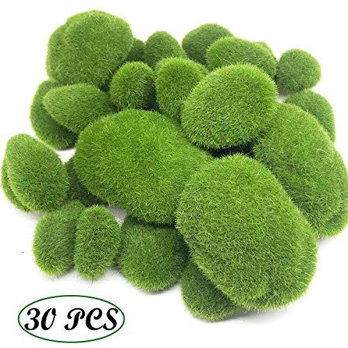 Grüne Moosbälle Künstliche Moos Steine, Woohome 30 Stück 3 Größe Künstliche Moosfelsen Dekorative Kunststeine für Feengärten, Blumenarrangements, Terrarien und Handwerk