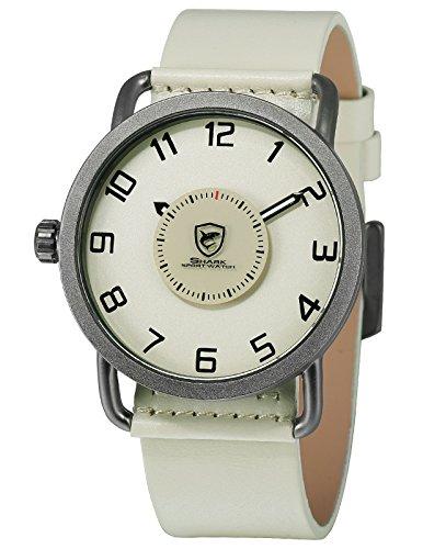 Shark Sportuhr Herren Quarz Plattenspieler Drehen Zweite Hand Drehen Einfache Design Leder Armbanduhren SH524