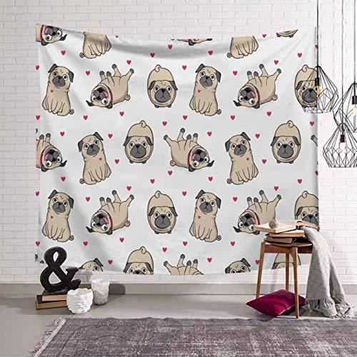 N/A Impresión 3D tapices Tapiz para Perros Pug Tapiz para Perros Bulldog Colgante de Pared para Sala de Estar Tapiz de Pared para Dormitorio Tapiz Escolar alfombras de Animales de Dibujos Animados