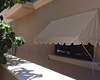 Savawn 6' West Coast Taupe [Dark Tan/Brown Gray] Aluminum & Canvas Retractable Awning Canopy Overhang
