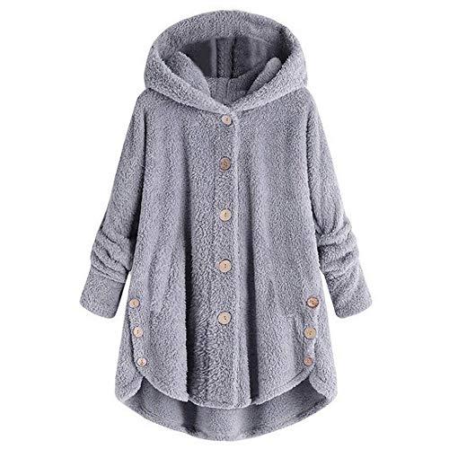 LATINDAY Winter Fuzzy Outerwear Sweatshirt Coat for Women Plus Size Button Plush Hooded Loose Cardigan Wool Coat Jacket Gray