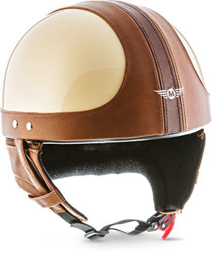 "MOTOHelmets® D22 ""Vintage Creme"" · Brain-Cap · Halbschale Jet-Helm Motorrad-Helm Bobber · Fiberglas Schnellverschluss SlimShell Tasche S (55-56cm)"