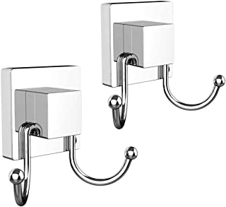 HOME SO Double Hooks with Suction Cup Holder, Prisma Collection - Removable Shower & Kitchen Hooks Hanger for Towel, Bath Robe, Coat, Loofah (2-Pack)