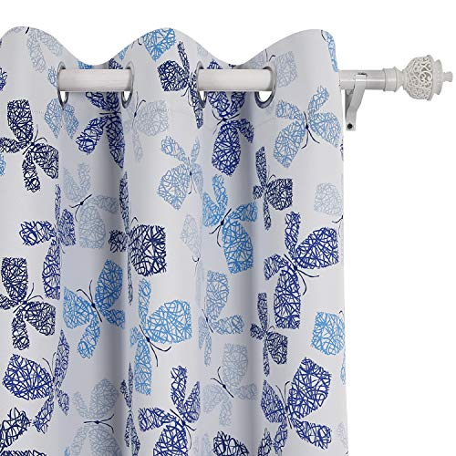 Deconovo Decorative Print Curtains Panels Thermal Insulated Window Treatment Set for Nursery Room, 42W x 95L Inch, Dark Blue and Light Blue