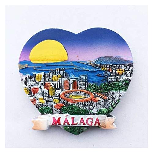 XINGYAO Imanes Decorativos España Refrigerador Imanes Souvenir Cordoba Barcelona Mallorca Sevilla Cantabria Regalos de Viaje Magnético Frigorífico Pegatinas decoración (Color : Malaga)