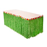 Luau Life Hawaiian Grass Table Skirt with Hibiscus Flower Trim | Plastic Clips Included for Extra Support | Perfect Luau Themed Decorations for Tiki Bars and Island Birthday Party Supplies (Green)