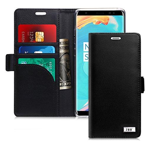 FYY Etui Coque pour Samsung Galaxy Note 8, [RFID Portefeuille Blocage] [Cuir Véritable] Fait Main Housse Portefeuille avec Béquille Protecteur de Carte de crédit pour Samsung Galaxy Note 8 2017 Noir