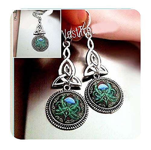 Celtic Scottish Thistle Flower Necklace and Earrings, Celtic Irish Knot, Celtic Love Knot Jewelry Gifts for Women Her