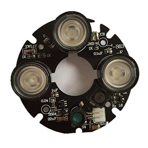 Fauge 3 Matriz Luz de Punto LED IR Infrarrojo 3X Placa LED IR para camaras CCTV Vision Nocturna (53 mm de diametro)