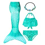 GALLDEALS Mermaid Bikini Set Swimsuit for Swimming Cosplay Costume Bathing Suit for Kids Girls (No Monofin)