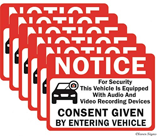 """6-Pack Double Sided 3.5""""x2.5""""- Notice Vehicle is Equipped with Audio and Video Recording Devices Consent by Entering Car Sticker-Double Sided Vinyl Decal, UV Protected, Waterproof, Indoor&Outdoor Use"""