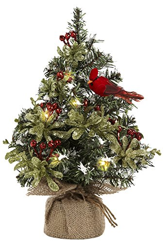 12 Inches Plastic Light Up Evergreen with Red Cardinal