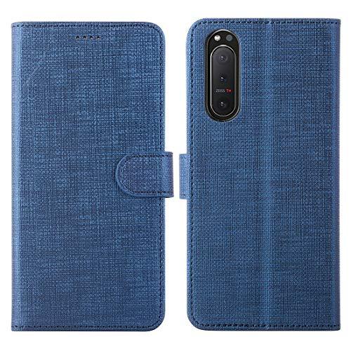 Cresee für Sony Xperia 5 II 5G Hülle, PU Handyhülle mit 3 Kartenfächer, Schutzhülle Case Tasche Magnetverschluss Flip Cover Stoßfest Fall (Blau)