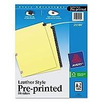 avery-dennison–印刷済みブラックレザータブディバイダーW /銅強化、穴、25-tab Letterave25180) ( 25180)